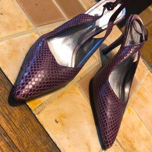 Purple Faux Snake Skin Kitten Slingback Heels